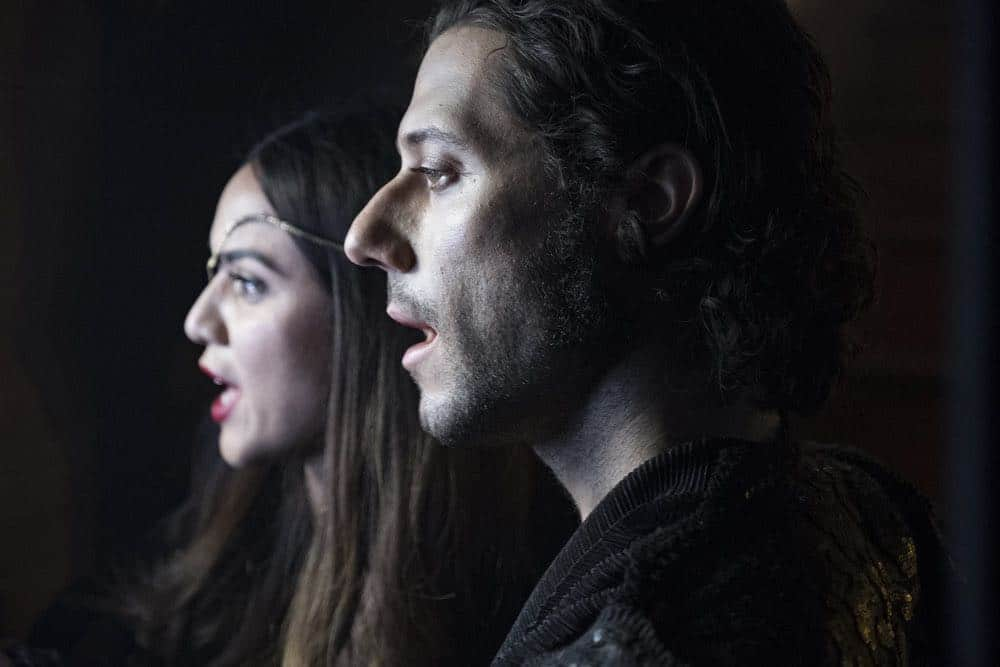 "THE MAGICIANS -- ""All That Josh"" Episode 309 -- Pictured: (l-r) Summer Bishil as Margo Hanson, Hale Appleman as Eliot Waugh -- (Photo by: Eric Milner/Syfy)"