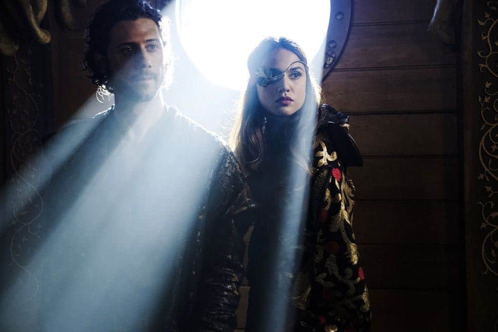 "THE MAGICIANS -- ""All That Josh"" Episode 309 -- Pictured: (l-r) Hale Appleman as Eliot Waugh, Summer Bishil as Margo Hanson -- (Photo by: Eric Milner/Syfy)"
