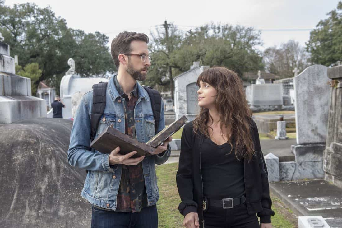 """Treasure Hunt"" -- During the annual Contraband Days pirate festival, the NCIS team investigates the murder of a Navy captain who was searching for a valuable 200-year-old marble and gold fleur-de-lis, on NCIS: NEW ORLEANS, Tuesday, March 13 (10:00-11:00 PM, ET/PT) on the CBS Television Network. Pictured L-R: Rob Kerkovich as Forensic Scientist Sebastian Lund and Vanessa Ferlito as FBI Special Agent Tammy Gregorio Photo: Skip Bolen/CBS ©2018 CBS Broadcasting, Inc. All Rights Reserved"