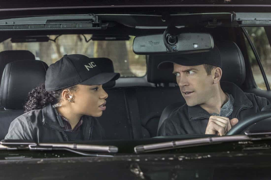 """Treasure Hunt"" -- During the annual Contraband Days pirate festival, the NCIS team investigates the murder of a Navy captain who was searching for a valuable 200-year-old marble and gold fleur-de-lis, on NCIS: NEW ORLEANS, Tuesday, March 13 (10:00-11:00 PM, ET/PT) on the CBS Television Network. Pictured L-R: Pictured L-R: Shalita Grant as Sonja Percy and Lucas Black as Special Agent Christopher LaSalle Photo: Skip Bolen/CBS ©2018 CBS Broadcasting, Inc. All Rights Reserved"