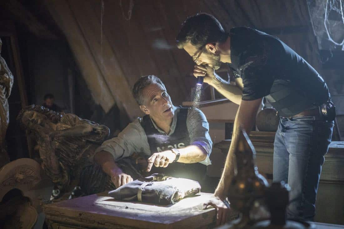 """Treasure Hunt"" -- During the annual Contraband Days pirate festival, the NCIS team investigates the murder of a Navy captain who was searching for a valuable 200-year-old marble and gold fleur-de-lis, on NCIS: NEW ORLEANS, Tuesday, March 13 (10:00-11:00 PM, ET/PT) on the CBS Television Network. Pictured L-R: Scott Bakula as Special Agent Dwayne Pride and Rob Kerkovich as Forensic Scientist Sebastian Lund Photo: Skip Bolen/CBS ©2018 CBS Broadcasting, Inc. All Rights Reserved"