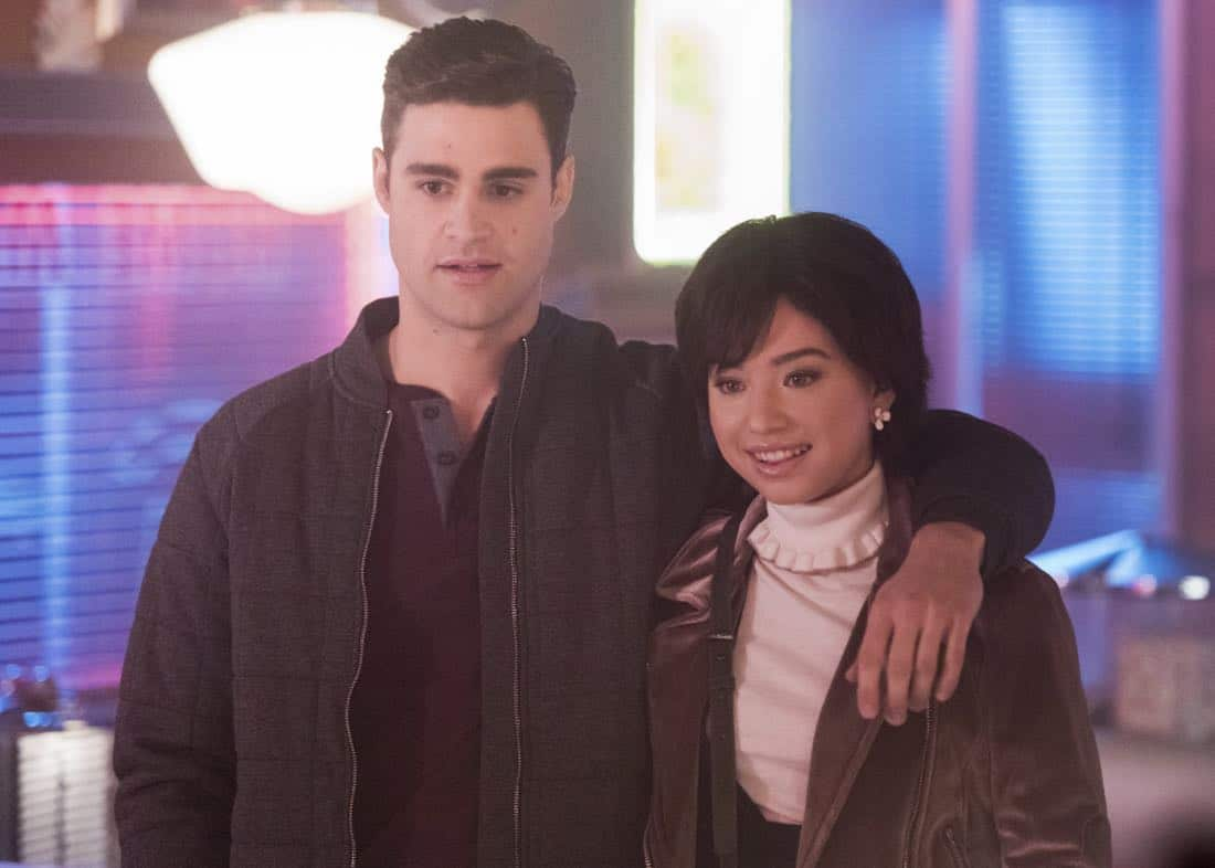 """Riverdale -- """"Chapter Twenty-Seven: The Hills Have Eyes"""" -- Image Number: RVD214a_0056.jpg -- Pictured (L-R): Cody Kearsley as Moose and Emilija Baranac as Midge -- Photo: Dean Buscher/The CW -- © 2018 The CW Network, LLC. All rights reserved."""
