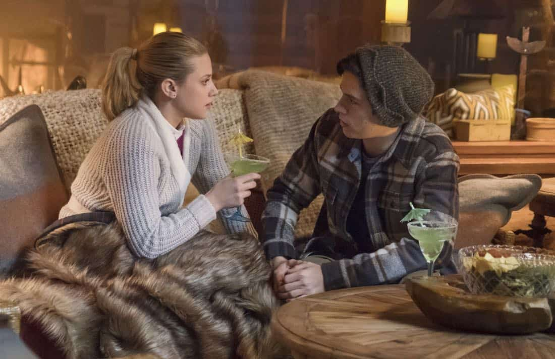 """Riverdale -- """"Chapter Twenty-Seven: The Hills Have Eyes"""" -- Image Number: RVD214a_0281.jpg -- Pictured (L-R): Lili Reinhart as Betty and Cole Spouse as Jughead -- Photo: Dean Buscher/The CW -- © 2018 The CW Network, LLC. All rights reserved."""