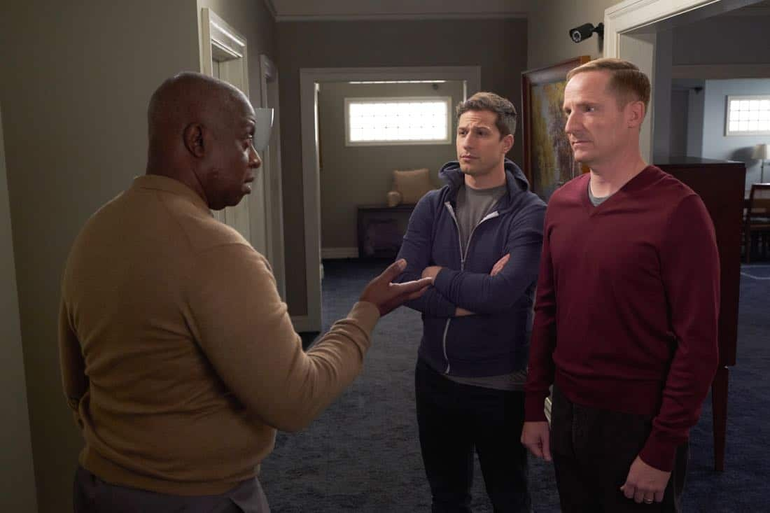 "BROOKLYN NINE-NINE: L-R: Andre Braugher, Andy Samberg and guest star Marc Evan Jackson in the ""Safe House"" spring premiere episode of BROOKLYN NINE-NINE airing Sunday, March 18 (8:30-9:00 PM ET/PT) on FOX. CR: John P Fleenor/ FOX"