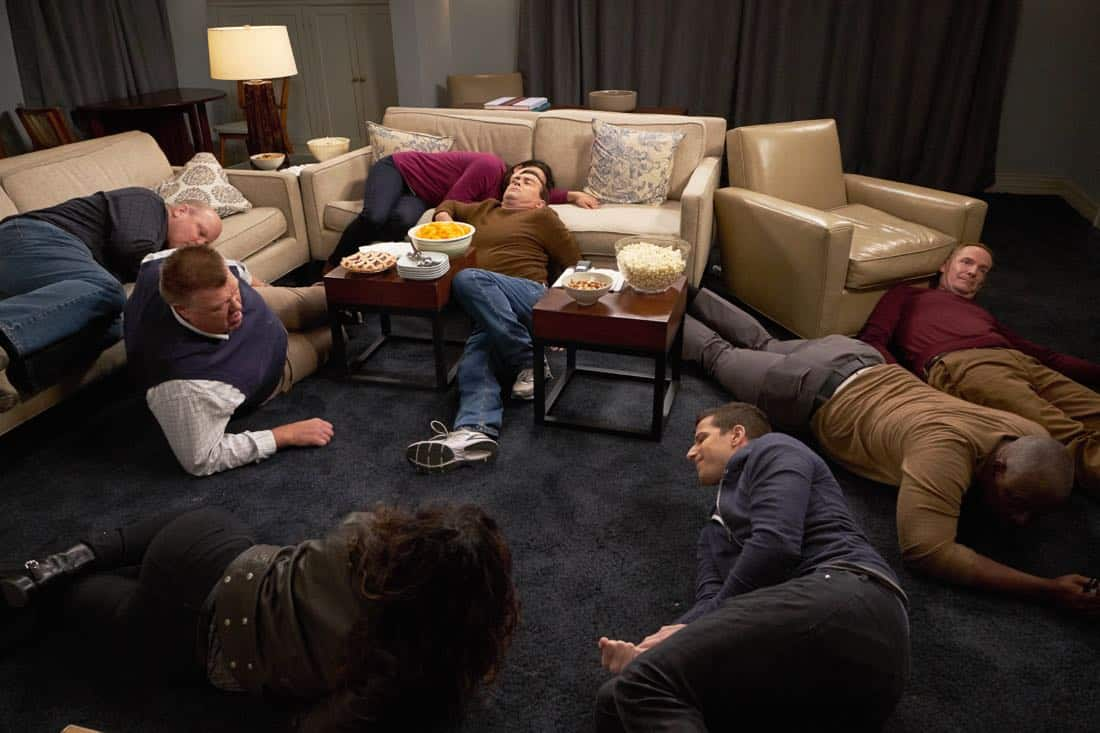 "BROOKLYN NINE-NINE: L-R: Joel McKinnon Miller, Dirk Blocker, Joe Lo Truglio, Andy Samberg, Andre Braugher and guest star Marc Evan Jackson in the ""Safe House"" spring premiere episode of BROOKLYN NINE-NINE airing Sunday, March 18 (8:30-9:00 PM ET/PT) on FOX. CR: John P Fleenor/ FOX"