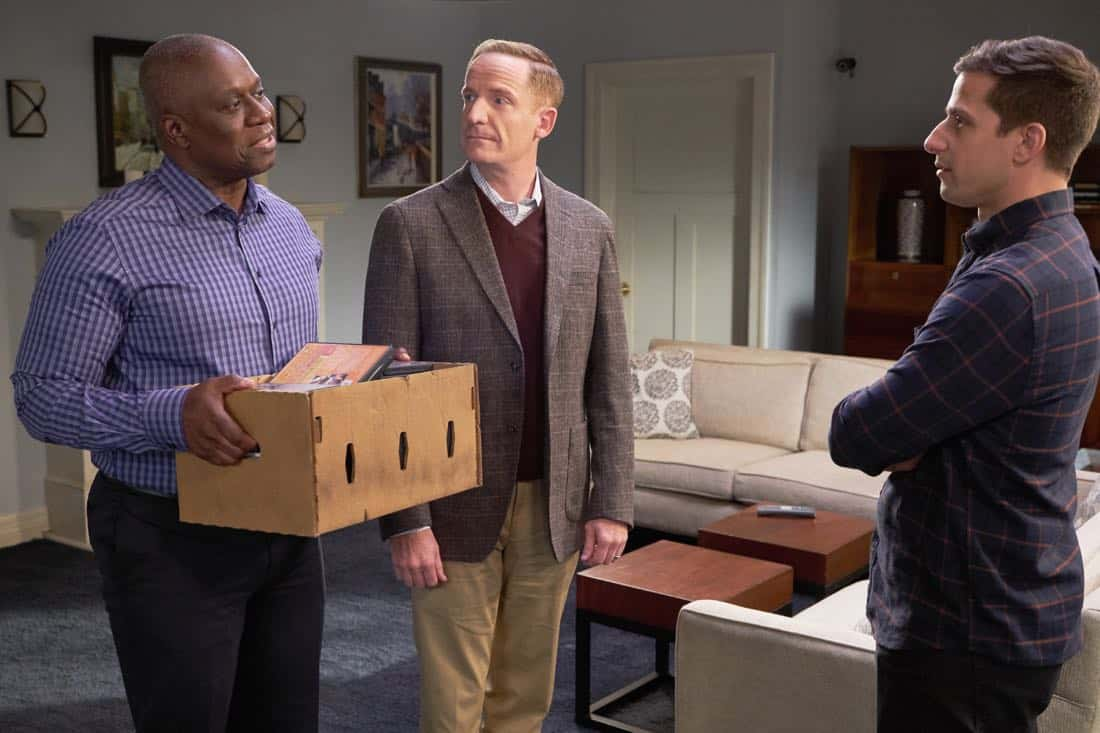 "BROOKLYN NINE-NINE: L-R: Andre Braugher, guest star Marc Evan Jackson and Andy Samberg in the ""Safe House"" spring premiere episode of BROOKLYN NINE-NINE airing Sunday, March 18 (8:30-9:00 PM ET/PT) on FOX. CR: John P Fleenor/ FOX"