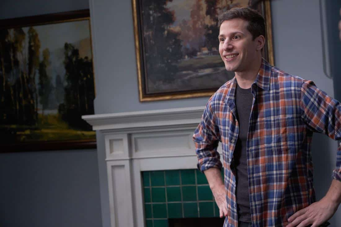 "BROOKLYN NINE-NINE: Andy Samberg in the ""Safe House"" spring premiere episode of BROOKLYN NINE-NINE airing Sunday, March 18 (8:30-9:00 PM ET/PT) on FOX. CR: John P Fleenor/ FOX"