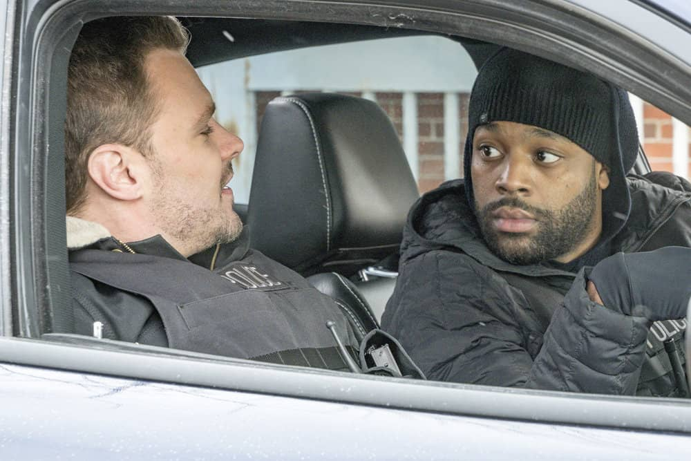 "CHICAGO P.D. -- ""Breaking Point"" Episode 517 -- Pictured: (l-r) Patrick John Flueger as Adam Ruzek, LaRoyce Hawkins as Kevin Atwater -- (Photo by: Matt Dinerstein/NBC)"