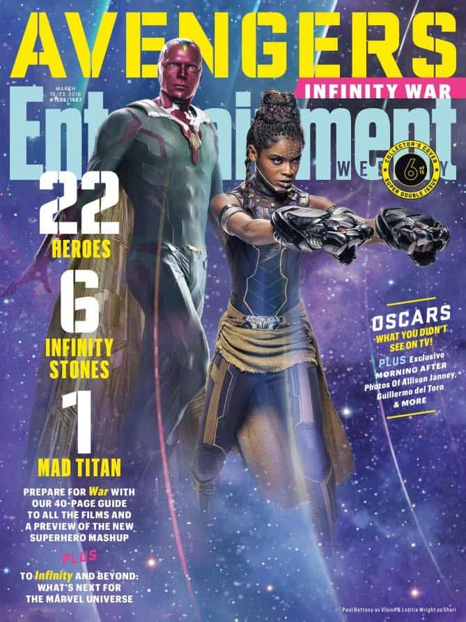 AVENGERS: INFINITY WAR Entertainment Weekly Cover Vision & Shuri