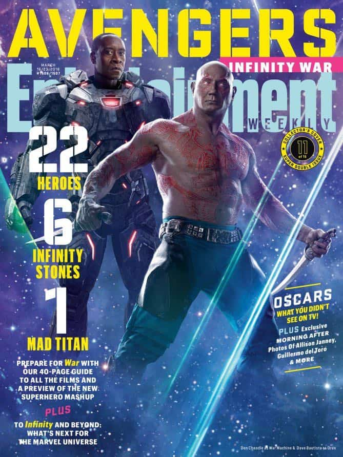 AVENGERS: INFINITY WAR Entertainment Weekly Cover War Machine and Drax