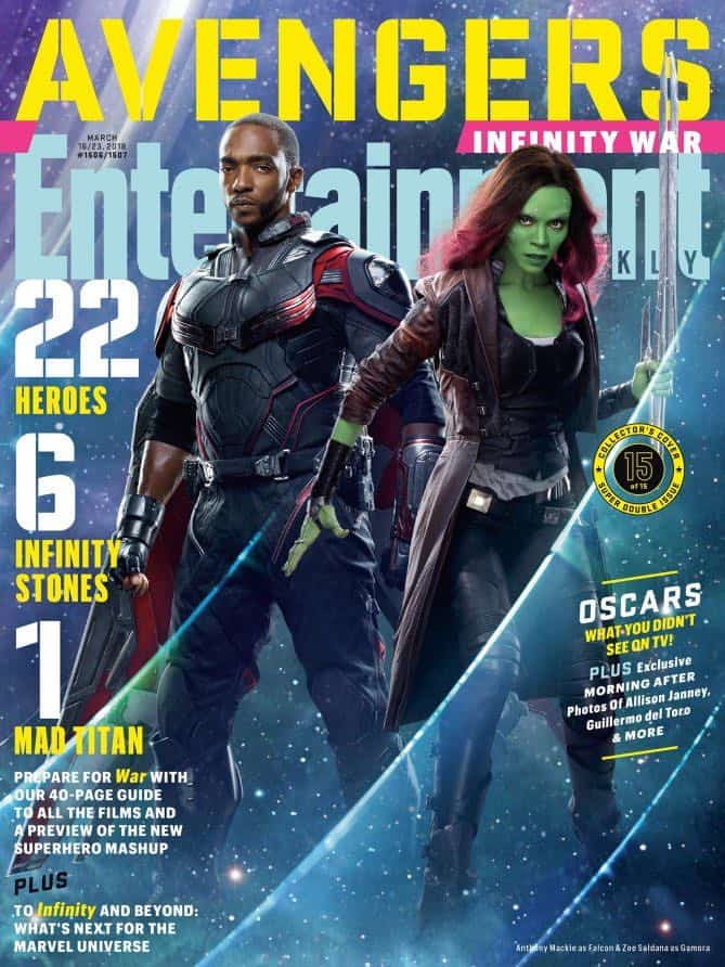 AVENGERS: INFINITY WAR Entertainment Weekly Cover Falcon and Gamora