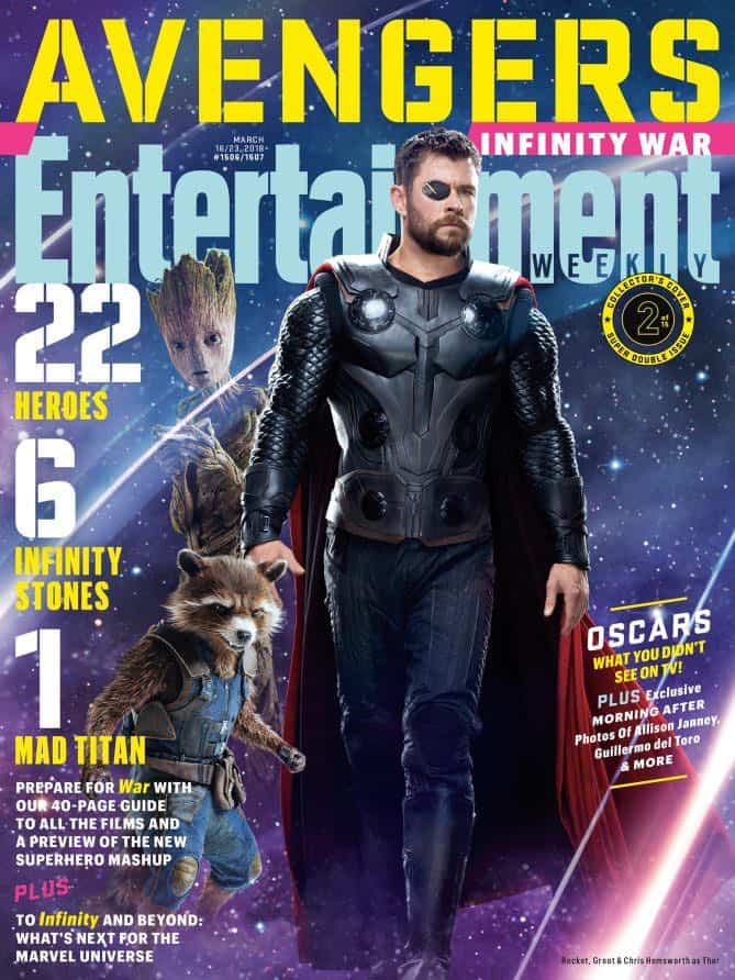 AVENGERS: INFINITY WAR Entertainment Weekly Cover Rocket Raccoon, Groot and Thor