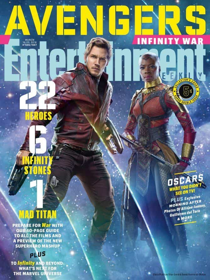 AVENGERS: INFINITY WAR Entertainment Weekly Cover Star-Lord and Okoye