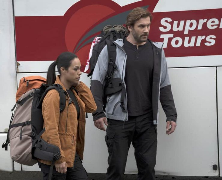 "TAKEN -- ""Invitation Only"" Episode 207 -- Pictured: (l-r) Jessica Camacho as Santana, Clive Standen as Bryan Mills -- (Photo by: Panagiotis Pantazidis/NBC)"