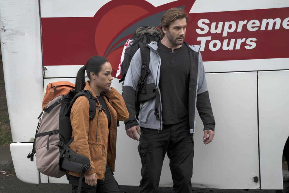 "TAKEN -- ""Invitation Only"" Episode 207 -- Pictured: (l-r) Jessica Camacho as Santana, Clive Standen as Bryan Mills -- (Photo by: Panagiotis Pantazidis/NBC)"