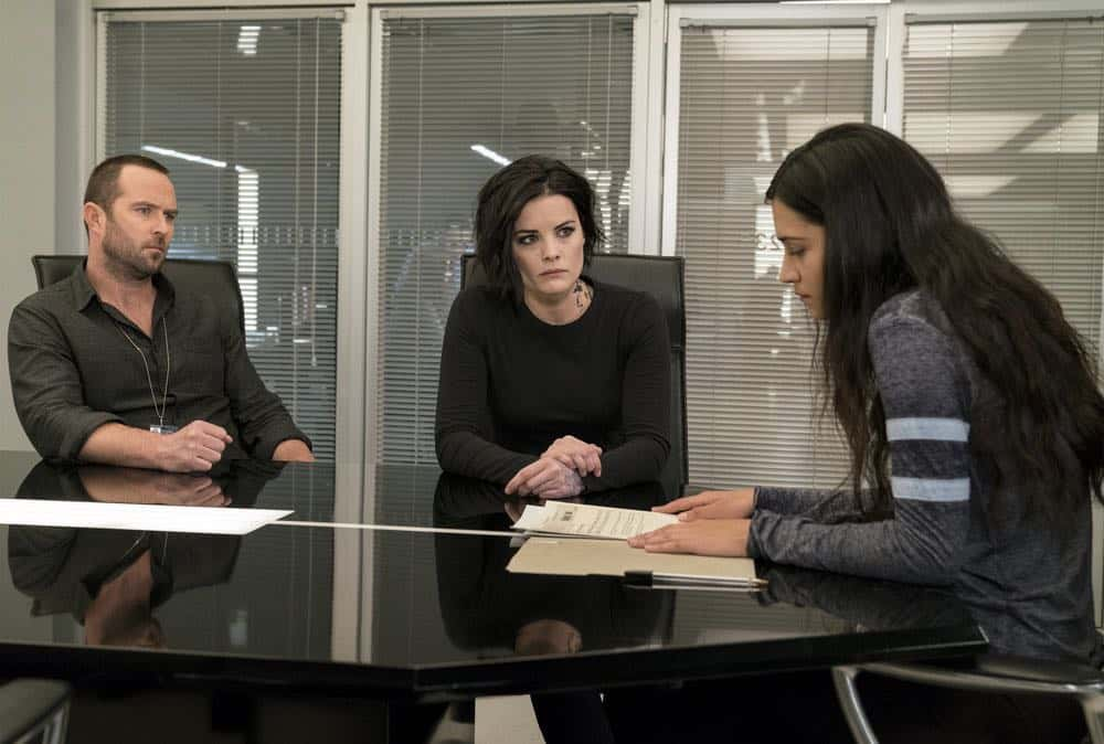 "BLINDSPOT -- ""Deductions"" Episode 315 --  Pictured: (l-r) Sullivan Stapleton as Kurt Weller, Jaimie Alexander as Jane Doe, Kristina Reyes as Avery -- (Photo by: David Giesbrecht/NBC)"