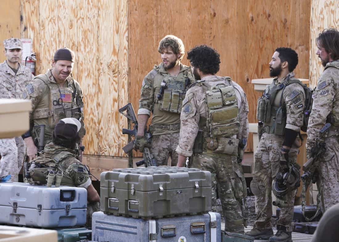 """Never Get Out of the Boat"" -- Jason leads the SEAL Team on a dangerous daytime mission where Sonny is wounded and must now rely on Clay and his brothers to save his life. Also, Jason sees more of Amy, and Clay struggles with his long-distance relationship with Stella, on SEAL TEAM, Wednesday, March 21 (9:01-10:00 PM, ET/PT) on the CBS Television Network. Pictured L to R: David Boreanaz as Jason Hayes, Max Thieriot as Clay Spenser, Neil Brown Jr. as Ray Perry, and Tyler Grey as Trent. Photo: Cliff Lipson/CBS ©2018 CBS Broadcasting, Inc. All Rights Reserved"