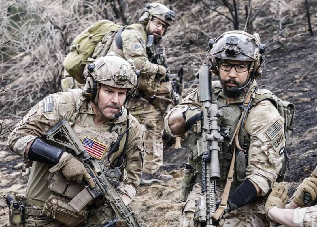 """Never Get Out of the Boat"" -- Jason leads the SEAL Team on a dangerous daytime mission where Sonny is wounded and must now rely on Clay and his brothers to save his life. Also, Jason sees more of Amy, and Clay struggles with his long-distance relationship with Stella, on SEAL TEAM, Wednesday, March 21 (9:01-10:00 PM, ET/PT) on the CBS Television Network. Pictured L to R: David Boreanaz as Jason Hayes, AJ Buckley as Sonny Quinn and Neil Brown Jr. as Ray Perry. Photo: Cliff Lipson/CBS ©2018 CBS Broadcasting, Inc. All Rights Reserved"