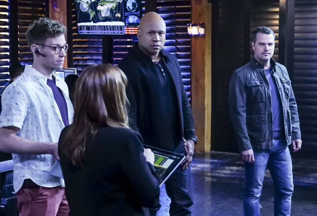 """""""Liabilities"""" - Pictured: Barrett Foa (Tech Operator Eric Beale), LL COOL J (Special Agent Sam Hanna) and Chris O'Donnell (Special Agent G. Callen). Callen and Sam pull Granger's daughter, former spy Jennifer Kim (Malese Jow), from witness protection to help the team locate an underground spy who has obtained an arsenal of bomb materials, on NCIS: LOS ANGELES, Sunday, March 18 (9:00-10:00 PM, ET/PT) on the CBS Television Network. Photo: Monty Brinton/CBS ©2017 CBS Broadcasting, Inc. All Rights Reserved."""