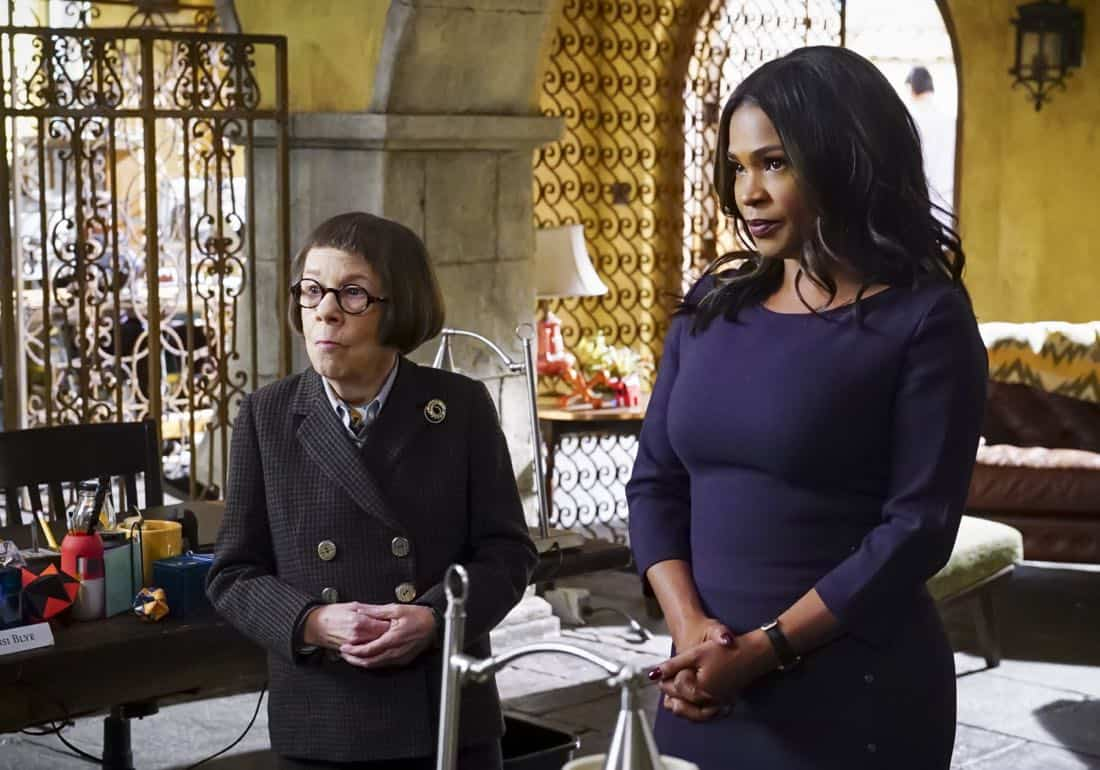 """""""Liabilities"""" - Pictured: Linda Hunt (Henrietta """"Hetty"""" Lange) and Nia Long (Executive Assistant Director Shay Mosley). Callen and Sam pull Granger's daughter, former spy Jennifer Kim (Malese Jow), from witness protection to help the team locate an underground spy who has obtained an arsenal of bomb materials, on NCIS: LOS ANGELES, Sunday, March 18 (9:00-10:00 PM, ET/PT) on the CBS Television Network. Photo: Monty Brinton/CBS ©2017 CBS Broadcasting, Inc. All Rights Reserved."""