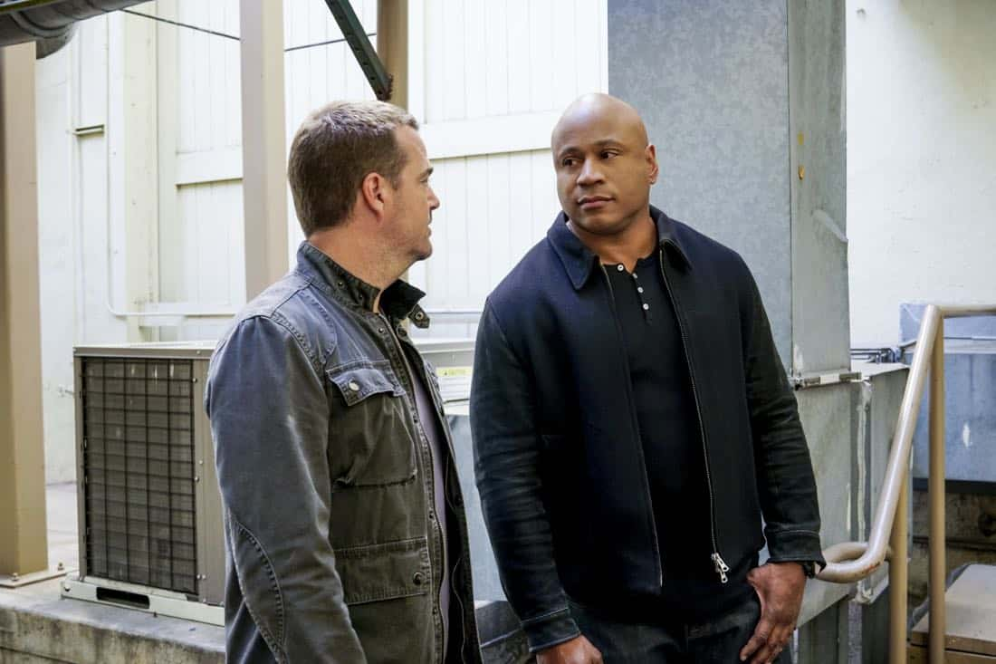 """""""Liabilities"""" - Pictured: Chris O'Donnell (Special Agent G. Callen) and LL COOL J (Special Agent Sam Hanna). Callen and Sam pull Granger's daughter, former spy Jennifer Kim (Malese Jow), from witness protection to help the team locate an underground spy who has obtained an arsenal of bomb materials, on NCIS: LOS ANGELES, Sunday, March 18 (9:00-10:00 PM, ET/PT) on the CBS Television Network. Photo: Monty Brinton/CBS ©2017 CBS Broadcasting, Inc. All Rights Reserved."""