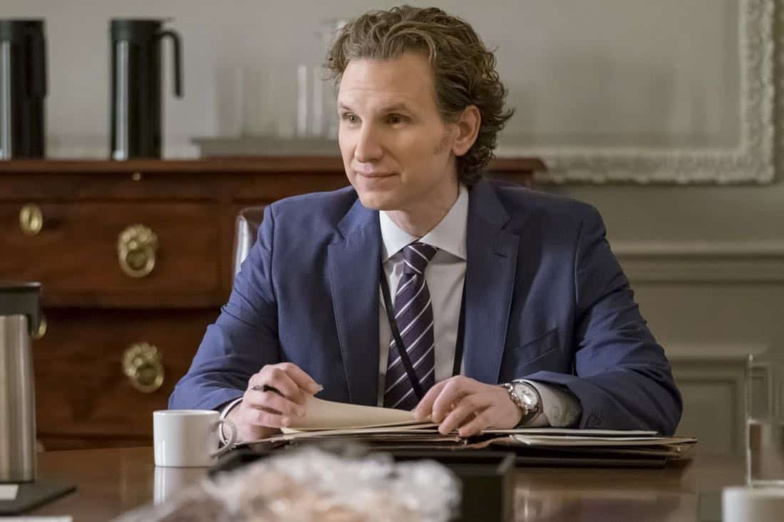"""Reading the Signs"" -- Elizabeth seeks creative solutions when the president of Sri Lanka's psychic convinces him to not move forward with a trade agreement with the U.S. Also, Alison grapples with guilt for missing the warning signs after her college roommate attempts suicide, and Henry makes an abrupt career decision, on MADAM SECRETARY, Sunday, March 11 (10:00-11:00 PM, ET/PT) on the CBS Television Network. Pictured: Sebastian Arcelus as Jay Whitman. Photo: Jeff Neumann/CBS ©2018 CBS Broadcasting, Inc. All Rights Reserved"