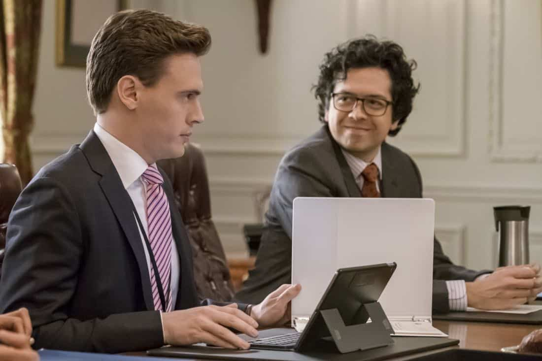 """Reading the Signs"" -- Elizabeth seeks creative solutions when the president of Sri Lanka's psychic convinces him to not move forward with a trade agreement with the U.S. Also, Alison grapples with guilt for missing the warning signs after her college roommate attempts suicide, and Henry makes an abrupt career decision, on MADAM SECRETARY, Sunday, March 11 (10:00-11:00 PM, ET/PT) on the CBS Television Network. Pictured (L-R): Erich Bergen as Blake Moran and Geoffrey Arend as Matt Mahoney. Photo: Jeff Neumann/CBS ©2018 CBS Broadcasting, Inc. All Rights Reserved"