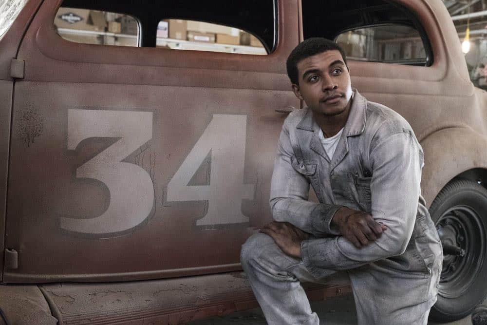 "TIMELESS -- ""The Darlington 500"" Episode 202 -- Pictured: Joseph Lee Anderson as Wendell Scott -- (Photo by: Justin Lubin/NBC)"