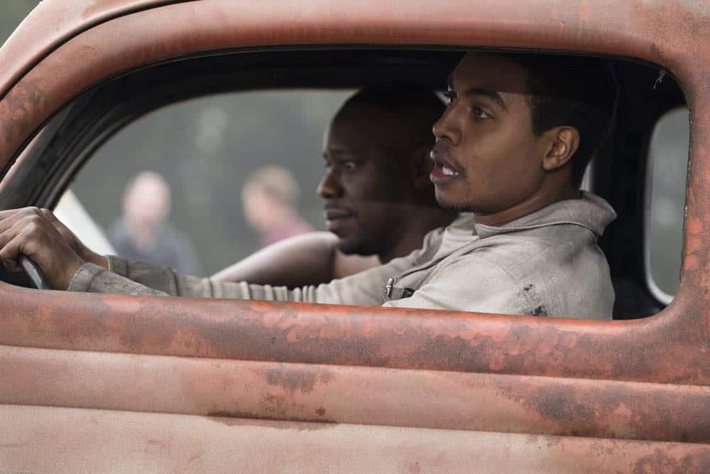 "TIMELESS -- ""The Darlington 500"" Episode 202 -- Pictured: (l-r) Malcolm Barrett as Rufus Carlin, Joseph Lee Anderson as Wendell Scott -- (Photo by: Justin Lubin/NBC)"