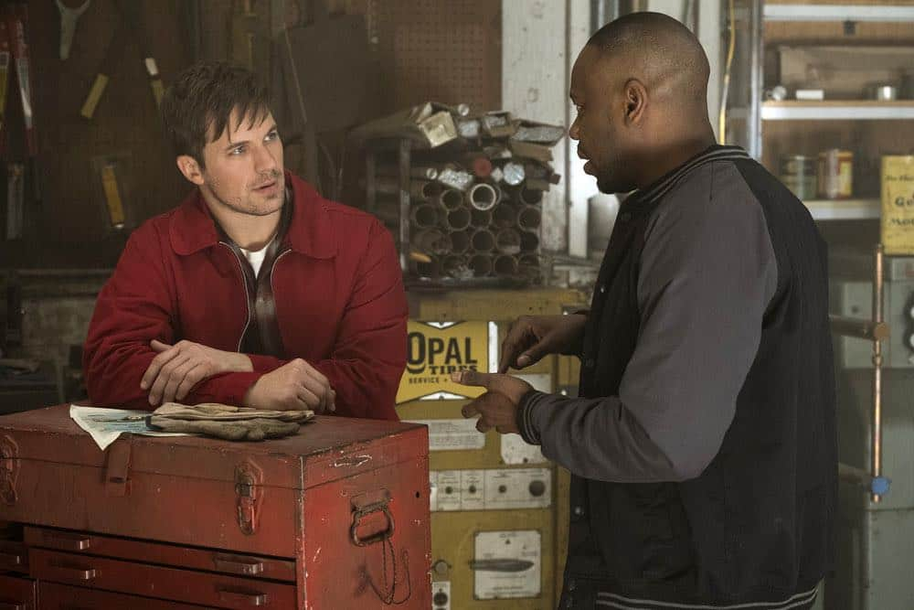 "TIMELESS -- ""Darlington"" Episode 202 -- Pictured: (l-r) Matt Lanter as Wyatt Logan, Malcolm Barrett as Rufus Carlin -- (Photo by: Justin Lubin/NBC)"