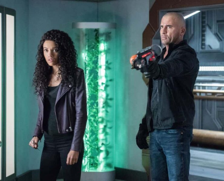 """DC's Legends of Tomorrow -- """"Necromancing the Stone"""" -- Image Number: LGN315a_0411b.jpg -- Pictured (L-R): Maisie Richardson- Sellers as Amaya Jiwe/Vixen and Dominic Purcell as Mick Rory/Heat Wave -- Photo: Dean Buscher/The CW -- © 2018 The CW Network, LLC. All Rights Reserved."""