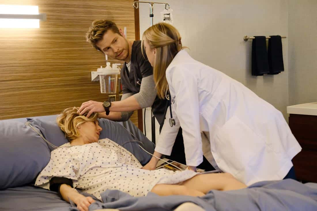 "THE RESIDENT:  L-R:  Guest star Jennifer Landon, Matt Czuchry and Emily VanCamp in the ""Family Affair"" episode of THE RESIDENT airing Monday, March 19 (9:00-10:00 PM ET/PT) on FOX.  ©2018 Fox Broadcasting Co.  Cr:  Guy D'Alema/FOX"