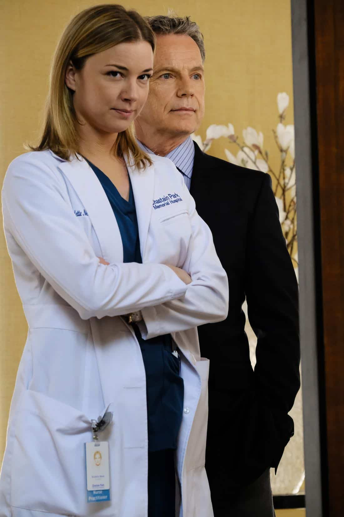 "THE RESIDENT:  L-R:  Emily VanCamp and Bruce Greenwood in the ""Family Affair"" episode of THE RESIDENT airing Monday, March 19 (9:00-10:00 PM ET/PT) on FOX.  ©2018 Fox Broadcasting Co.  Cr:  Guy D'Alema/FOX"