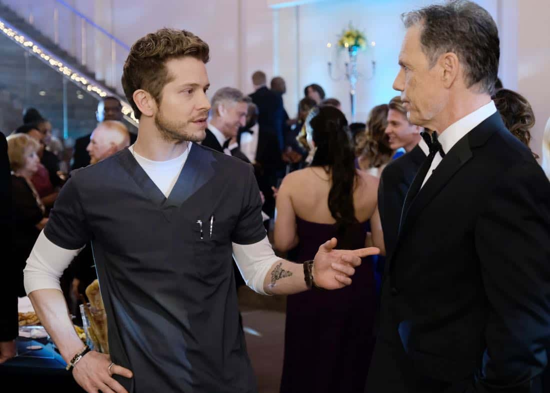 "THE RESIDENT:  L-R:  Matt Czuchry and Bruce Greenwood in the ""Family Affair"" episode of THE RESIDENT airing Monday, March 19 (9:00-10:00 PM ET/PT) on FOX.  ©2018 Fox Broadcasting Co.  Cr:  Guy D'Alema/FOX"