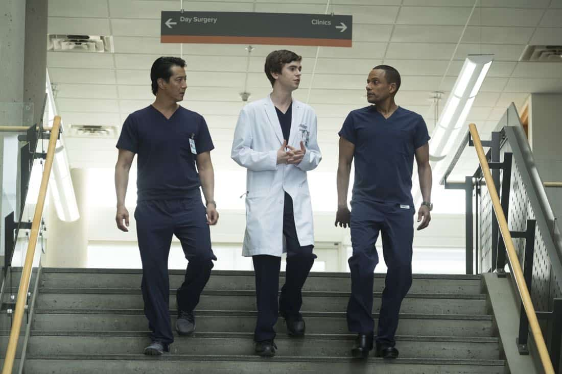 "THE GOOD DOCTOR - ""Smile"" - Dr. Shaun Murphy questions the need for an elective surgery that will allow his young patient to smile for the first time. Meanwhile, Dr. Claire Brown and Dr. Morgan Reznick discover that their patient lied about her identity, on ""The Good Doctor,"" MONDAY, MARCH 19 (10:00-11:00 p.m. EDT), on The ABC Television Network. (ABC/Jeff Weddell) WILL YUN LEE, FREDDIE HIGHMORE, HILL HARPER"