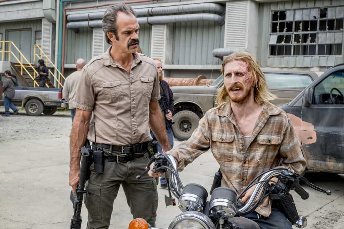Steven Ogg as Simon, Austin Amelio as Dwight - The Walking Dead _ Season 8, Episode 12 - Photo Credit: Gene Page/AMC
