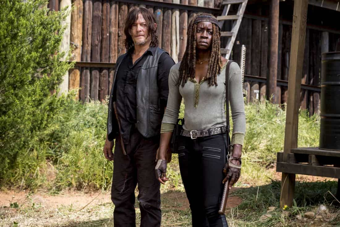 Norman Reedus as Daryl Dixon, Danai Gurira as Michonne - The Walking Dead _ Season 8, Episode 12 - Photo Credit: Gene Page/AMC