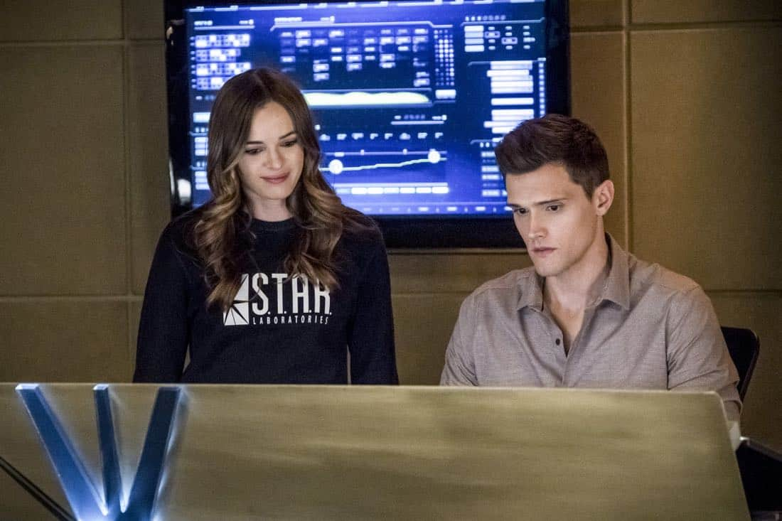 "The Flash -- ""Run, Iris, Run"" -- Image Number: FLA416b_0148b.jpg -- Pictured (L-R): Danielle Panabaker as Caitlin Snow and Hartley Sawyer as Dibney -- Photo: Katie Yu/The CW -- © 2018 The CW Network, LLC. All rights reserved"