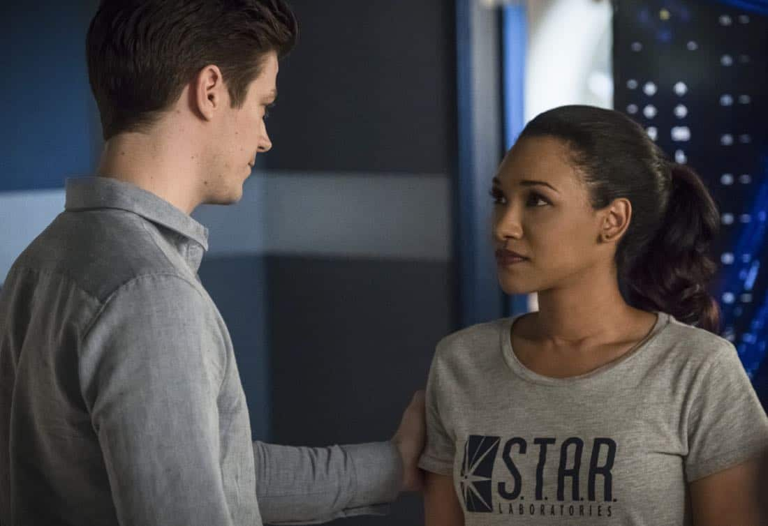 "The Flash -- ""Run, Iris, Run"" -- Image Number: FLA416b_0287b.jpg -- Pictured (L-R): Grant Gustin as Barry Allen and Candice Patton as Iris West -- Photo: Katie Yu/The CW -- © 2018 The CW Network, LLC. All rights reserved"