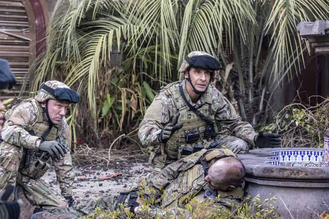 """Welcome to the Jungle"" -- Pride, Sebastian and Tammy travel to South America after Pride is personally requested by a former colleague to assist with a classified operation that has been compromised, on NCIS: NEW ORLEANS, Tuesday, March 27 (10:00-11:00 PM, ET/PT) on the CBS Television Network. Pictured L-R: Patrick Page as Colonel Stanley Parker and Scott Bakula as Special Agent Dwayne Pride Photo: Skip Bolen/CBS ©2018 CBS Broadcasting, Inc. All Rights Reserved"
