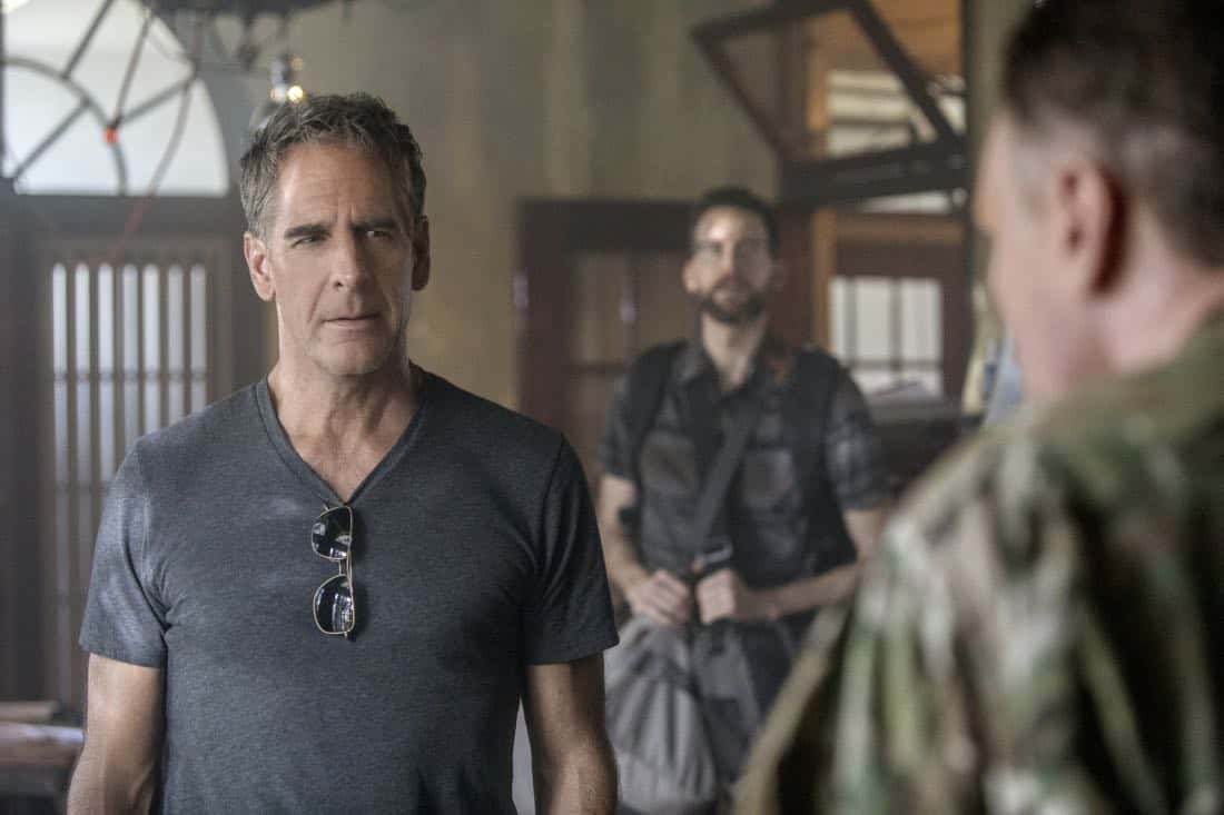 """Welcome to the Jungle"" -- Pride, Sebastian and Tammy travel to South America after Pride is personally requested by a former colleague to assist with a classified operation that has been compromised, on NCIS: NEW ORLEANS, Tuesday, March 27 (10:00-11:00 PM, ET/PT) on the CBS Television Network. Pictured L-R: Scott Bakula as Special Agent Dwayne Pride, Rob Kerkovich as Forensic Scientist Sebastian Lund, and Patrick Page as Colonel Stanley Parker Photo: Skip Bolen/CBS ©2018 CBS Broadcasting, Inc. All Rights Reserved"
