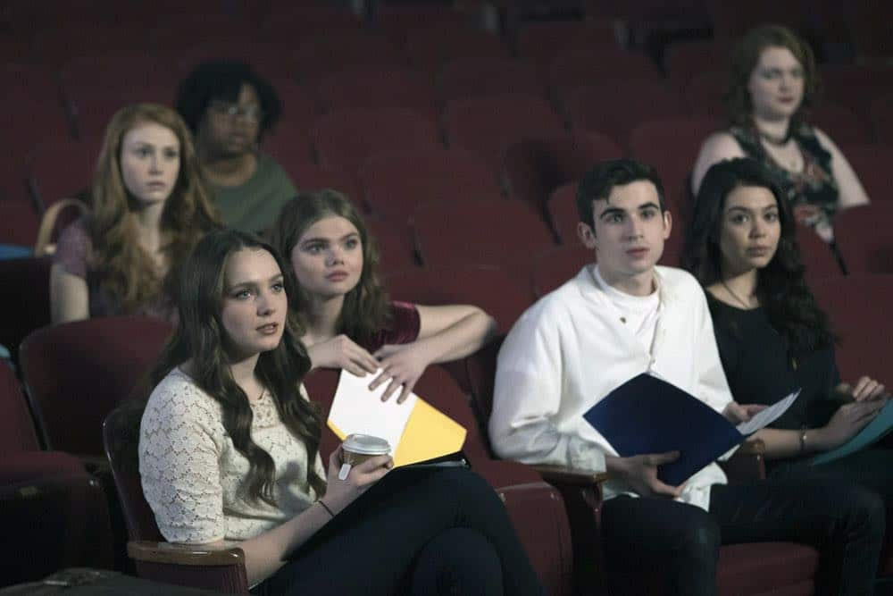 "RISE -- ""Pilot"" Episode 101 -- Pictured: (l-r) Amy Forsyth as Gwen Strickland, Katherine Reis as Jolene, Ted Sutherland as Simon Saunders, Auli'i Cravalho as Lilette Suarez -- (Photo by: Peter Kramer/NBC)"