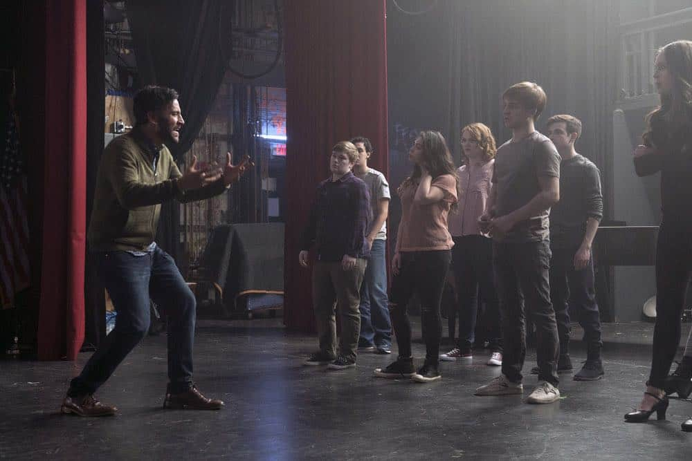 "RISE -- ""Pilot"" Episode 101 -- Pictured: (l-r) Josh Radnor as Lou Mazzuchelli, Ellie Desautels as Michael Hallowell, Auli'i Cravalho as Lilette Suarez, Shannon Purser as Annabelle, Sean Grandillo as Jeremy Middle, Ted Sutherland as Simon Saunders, Amy Forsyth as Gwen Strickland -- (Photo by: Peter Kramer/NBC)"