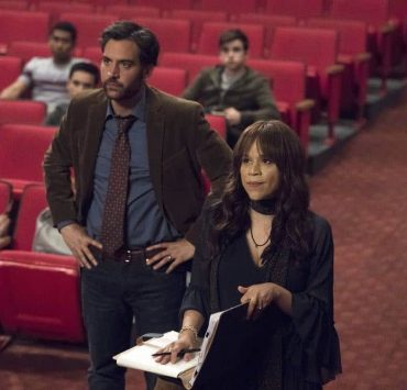 "RISE -- ""Most of All to Dream"" Episode 102 -- Pictured: (l-r) Josh Radnor as Lou Mazzuchelli, Rosie Perez as Tracey Wolfe -- (Photo by: Virginia Sherwood/NBC)"