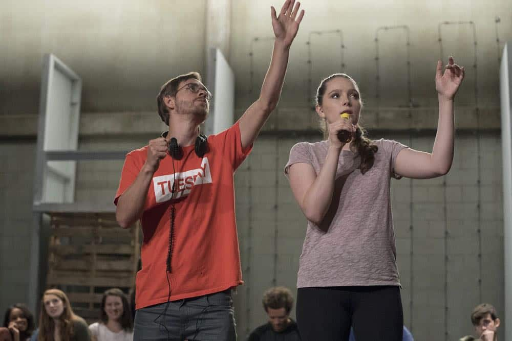 "RISE -- ""Most of All to Dream"" Episode 102 -- Pictured: (l-r) Danny Mefford, Choreographer, Amy Forsyth as Gwen Strickland -- (Photo by: Virginia Sherwood/NBC)"