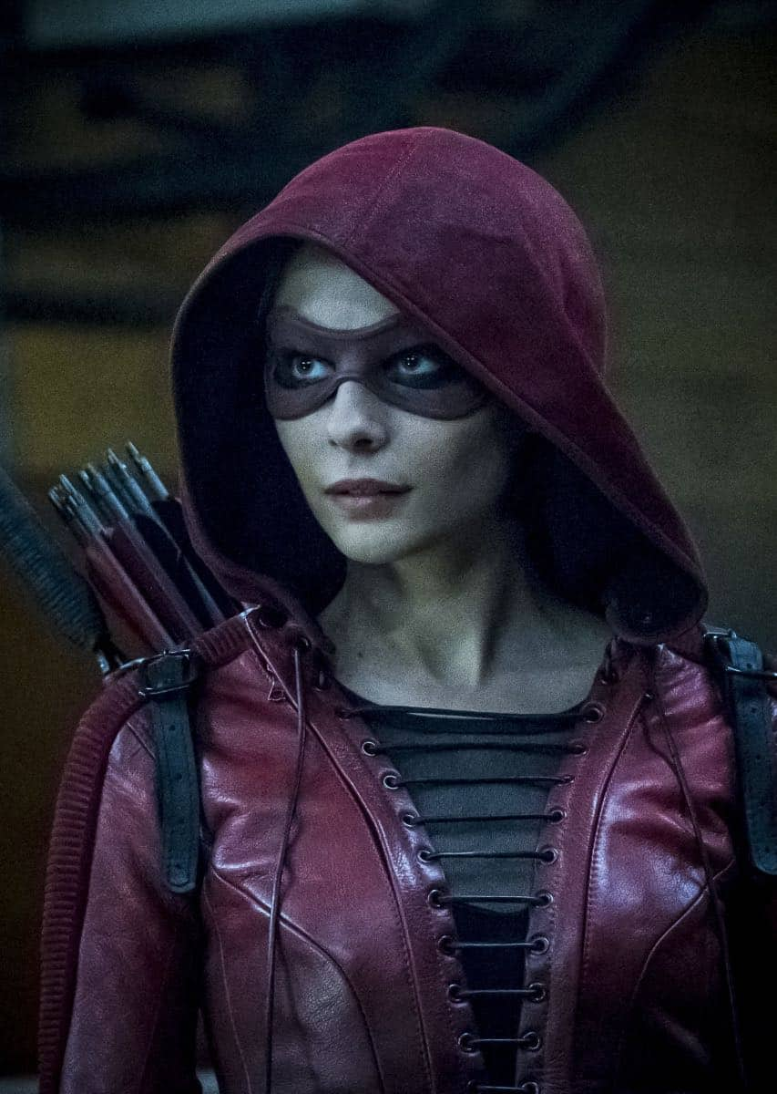 "Arrow -- ""The Thanatos Guild"" -- Image Number: AR616b_0213.jpg -- Pictured: Willa Holland as Thea Queen/Speedy -- Photo: Katie Yu/The CW -- © 2018 The CW Network, LLC. All rights reserved."