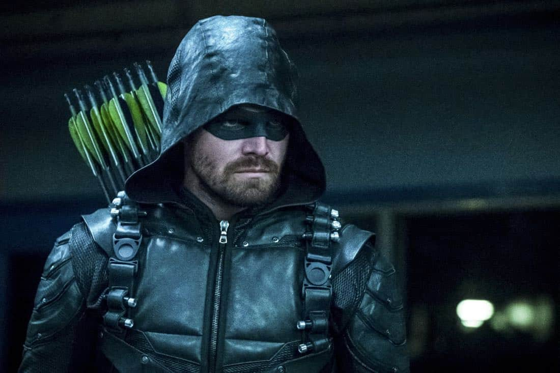 "Arrow -- ""The Thanatos Guild"" -- Image Number: AR616b_0175.jpg -- Pictured (L-R): Stephen Amell as Oliver Queen/Green Arrow -- Photo: Katie Yu/The CW -- © 2018 The CW Network, LLC. All rights reserved."