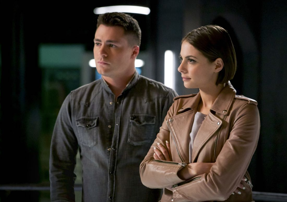 "Arrow -- ""The Thanatos Guild"" -- Image Number: AR616a_0107.jpg -- Pictured (L-R): Colton Haynes as Roy Harper and Willa Holland as Thea Queen/Speedy-- Photo: Shane Harvey/The CW -- © 2018 The CW Network, LLC. All rights reserved."