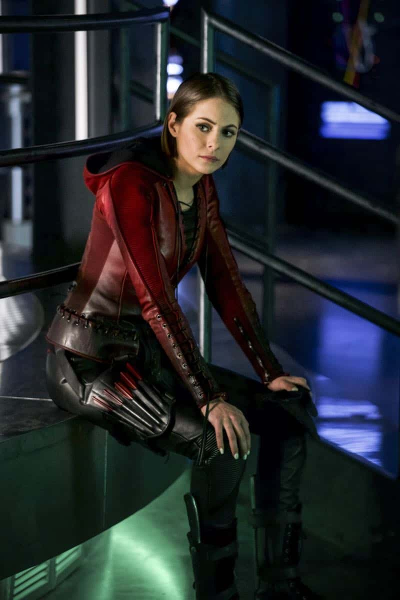 "Arrow -- ""The Thanatos Guild"" -- Image Number: AR616a_0188.jpg -- Pictured: Willa Holland as Thea Queen/Speedy -- Photo: Shane Harvey/The CW -- © 2018 The CW Network, LLC. All rights reserved."