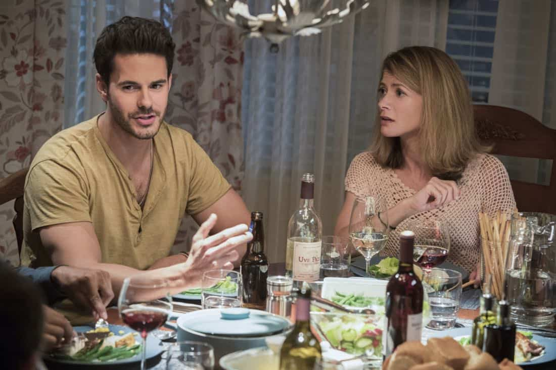 """Life Sentence -- """"Re-Inventing the Abbotts"""" -- Image Number: LFS102b_0369b.jpg -- Pictured (L-R): Jayson Blair as Aiden and Gillian Vigman as Ida -- Photo: Jack Rowand/The CW -- © 2018 The CW Network, LLC. All Rights Reserved."""